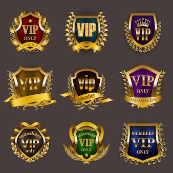 Set di insegne d'oro vip