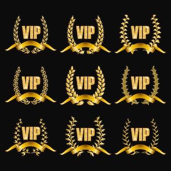 Set di monogrammi oro vip per la progettazione grafica su sfondo nero.