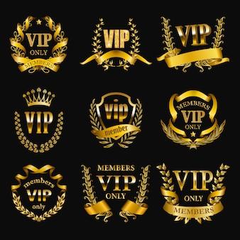 Set di monogrammi vip oro per la progettazione grafica su nero