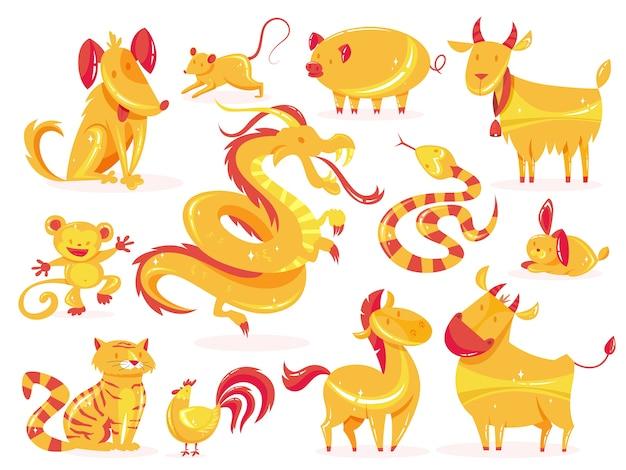 Set di animali d'oro. simbolo dello zodiaco del calendario cinese.
