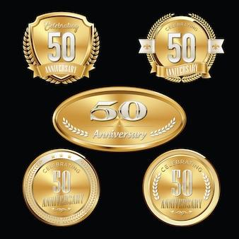 Set di badge anniversario d'oro