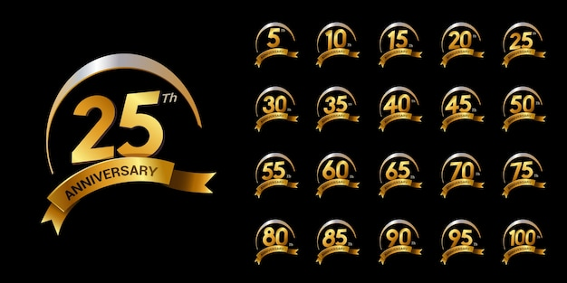 Set di numero di anniversario d'oro con swoosh e celebrazione del logo del nastro