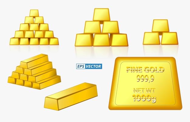 Set di lingotti d'oro isolati o lingotti d'oro fini impilati con il concetto di freccia grafica vettoriale eps