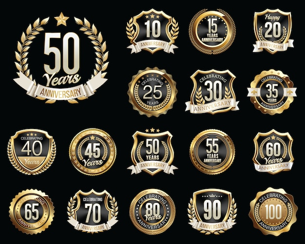 Set di badge anniversario nero dorato