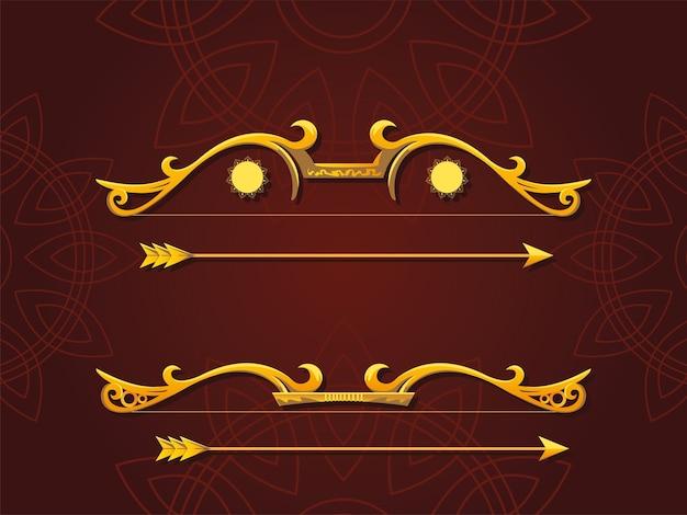 Set di archi dorati e frecce su sfondo marrone