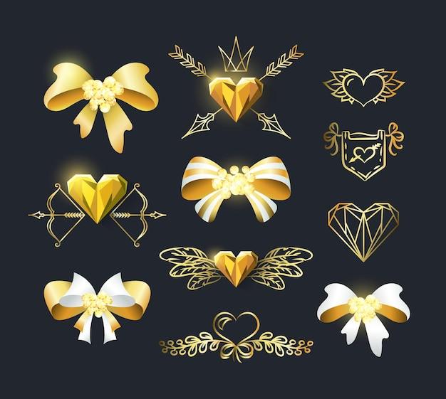 Set di fiocchi dorati e decorazioni a cuore.