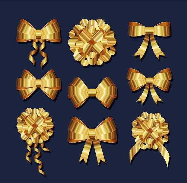 Set di fiocchi d'oro con un'illustrazione di nodi e nastri