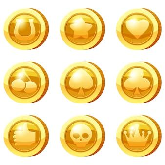 Set di monete d'oro per app di gioco icone d'oro stella cuore carta adatta simboli corona ciliegia