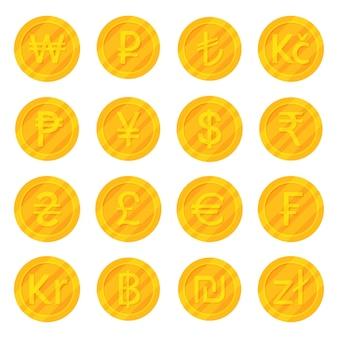 Set di monete d'oro più utilizzate simboli di valuta icon
