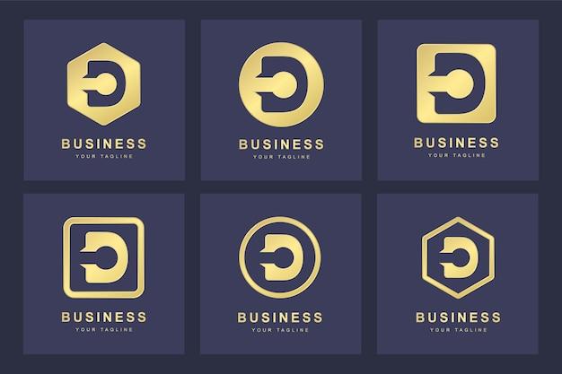 Set di golden lettera d logo con diverse versioni