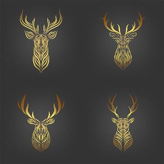 Set di testa di cervo dorato, collezione d'arte di linea testa di cervo dorato