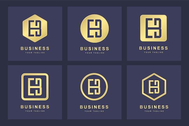 Set di golden eb letter logo con diverse versioni
