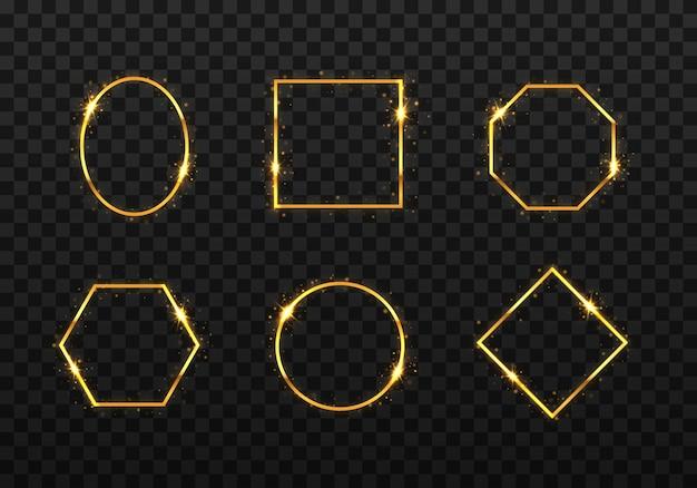 Set di cornici dorate con effetti di luci. bordo rettangolo realistico di lusso dorato.