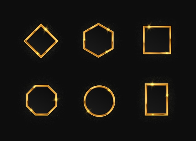 Set di cornici dorate con effetti di luci