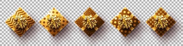Set, di, dorato, regali, box., colorito, avvolto, regalo, scatole, su, trasparente, fondo