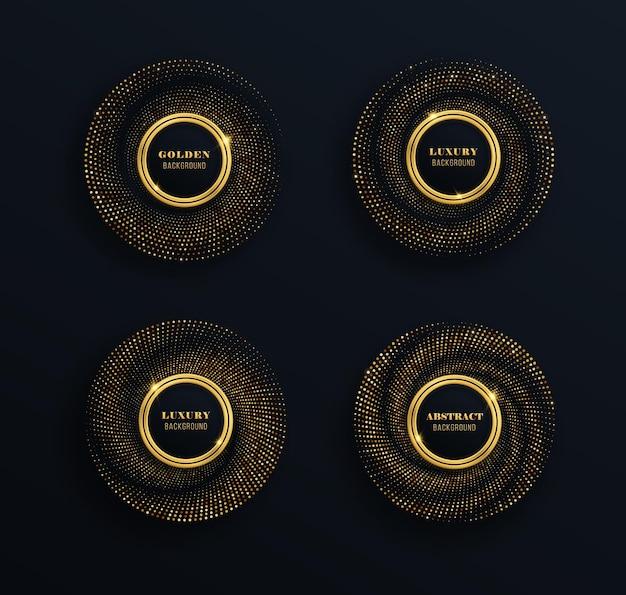 Set di cornici dorate scintillanti con lussuosi punti luminosi cerchio festivo per la progettazione grafica.