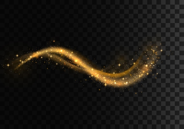 Set di onde scintillanti dorate. scie luminose scintillanti. effetto di linee a spirale lucide incandescente.