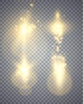 Set di effetti di luci incandescenti dorate isolato su sfondo trasparente, illustrazione magica astratta