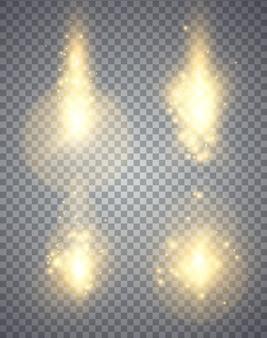 Set di effetti di luci incandescenti dorate isolati su sfondo trasparente, illustrazione magica astratta