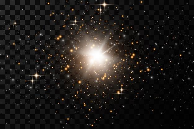 Set di effetti di luci incandescenti dorate isolato su sfondo trasparente. flash del sole con raggi e riflettori. effetto luce bagliore. la stella è esplosa di scintillii.