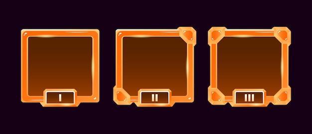Set di cornice per avatar di confine ui gioco gelatina dorata con grado per elementi asset gui Vettore Premium