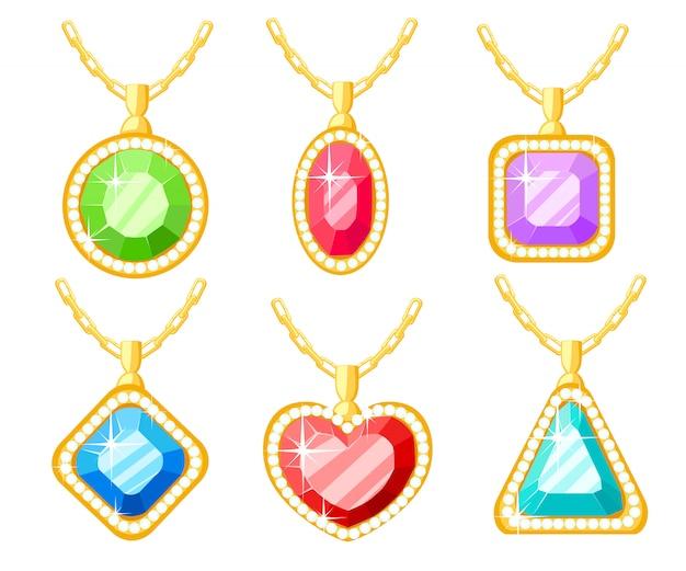Set di gioielli d'oro. collezioni di collane con ciondoli di diamanti quadrati, circolari, a cuore e triangolari. catena. illustrazione su sfondo bianco