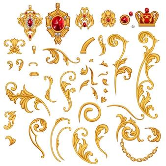 Set di elementi di pergamena di gioielli dorati con gemme di rubino, corona, catena per cornice decorativa in stile rococò