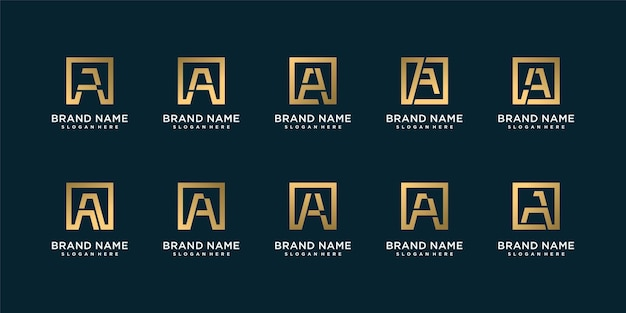 Set di raccolta di logo lettera dorata con iniziale a, dorata