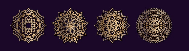 Set di collezioni di mandala d'oro