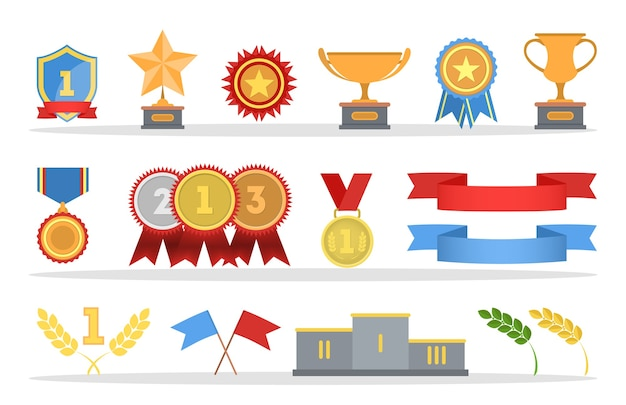 Set di medaglie d'oro e coppe trofei. distintivi in metallo con nastri rossi. illustrazione