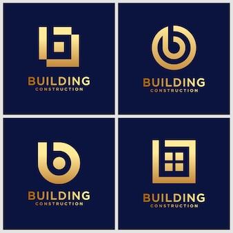 Set di monogramma dorato lettera b ispirazione logo