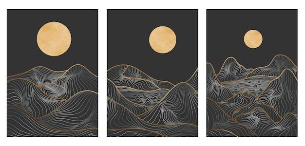 Set di arte della linea di montagna dorata, paesaggi di sfondi estetici contemporanei di montagna astratta. utilizzare per la stampa artistica, copertina, sfondo dell'invito, tessuto. illustrazione vettoriale