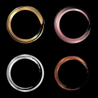 Set di pennellate di cerchi metallici dorati, oro rosa, argento, rame
