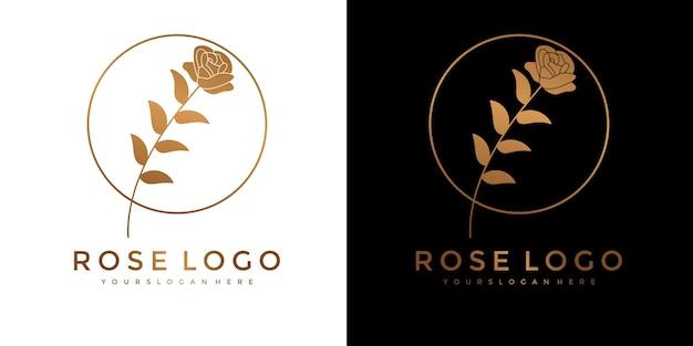 Set di logo fiore rosa d'oro