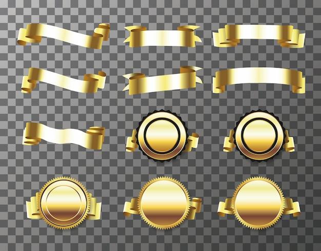 Set di sigillo d'oro con nastri isolati su sfondo trasparente