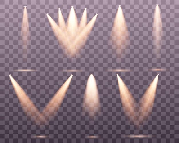 Set di riflettori dorati palcoscenico a luce calda gialla su sfondo trasparente illuminazione della scena