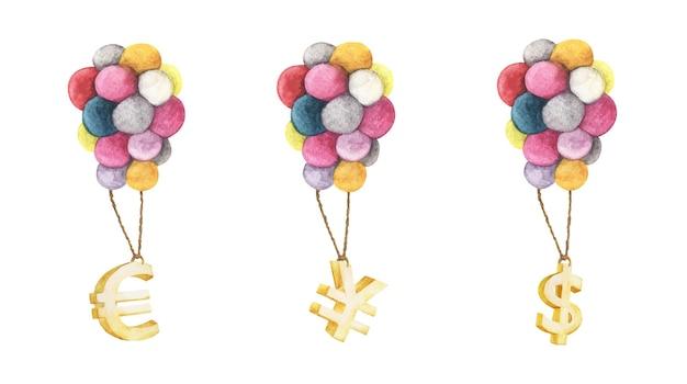 Set di simboli dorati del dollaro euro yen appesi con palloncini colorati illustrazioni ad acquerello