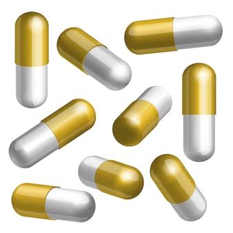 Set di capsule mediche dorate e bianche in diverse posizioni