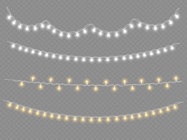 Set di ghirlande dorate di natale incandescente led lampada al neon decorazione di capodanno luci di natale bianche