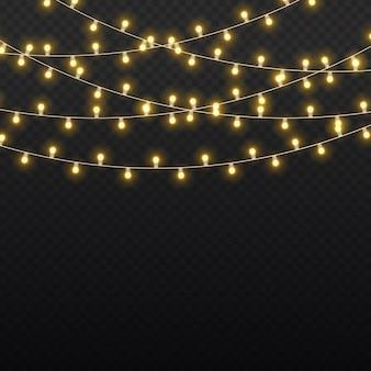 Set di ghirlande dorate di natale incandescente led lampada al neon festa di capodanno decorazione di luci di natale