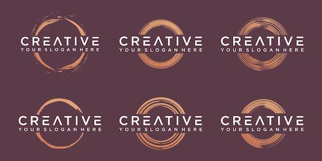 Set di arte vettoriale minimalista cerchio zen dorato
