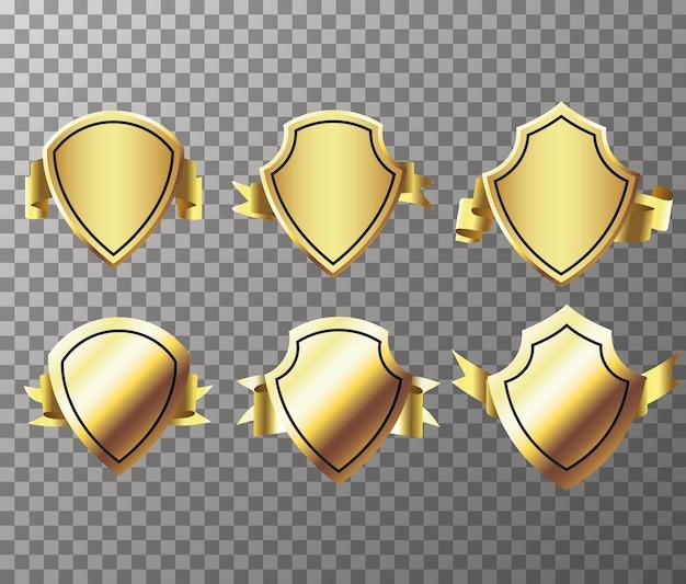 Set di goldenseal con nastri isolati su sfondo trasparente