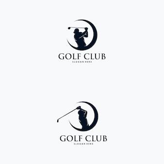 Set di modello di progettazione del logo del giocatore di golf