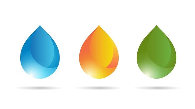 Impostare gocce di colore sfumato isolate su sfondo bianco. illustrazione vettoriale