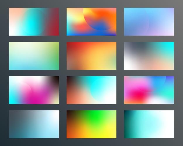 Set di design con texture sfumate per sfondo, banner web, carta da parati, flyer, poster, copertina di brochure, tipografia o altri prodotti di stampa. illustrazione vettoriale.