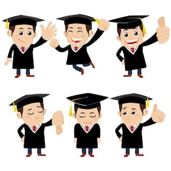 Set di personaggi di studenti laureati in diverse pose