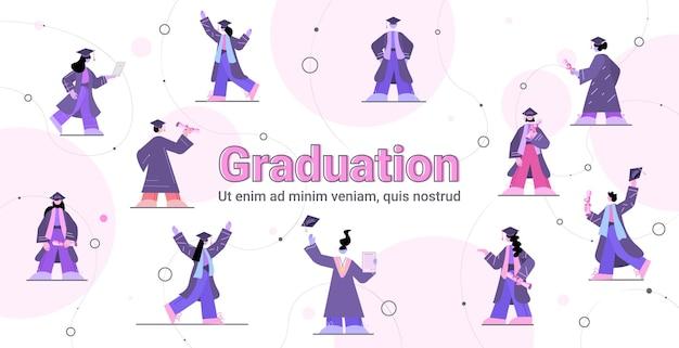 Impostare gli studenti laureati laureati che celebrano il diploma accademico laurea il concetto di educazione a piena lunghezza orizzontale copia spazio