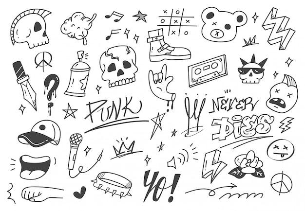 Set di graffiti doodle, scarabocchio disegnato a mano di musica punk