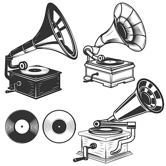 Insieme delle illustrazioni del grammofono su fondo bianco. elementi per logo, etichetta, emblema, segno. illustrazione