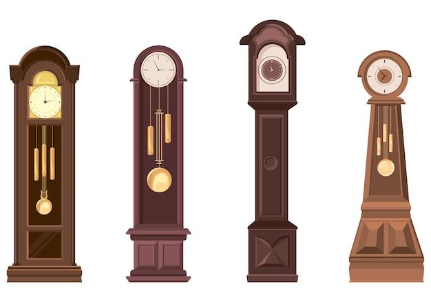 Set di orologi a pendolo. oggetti vintage in stile cartone animato.